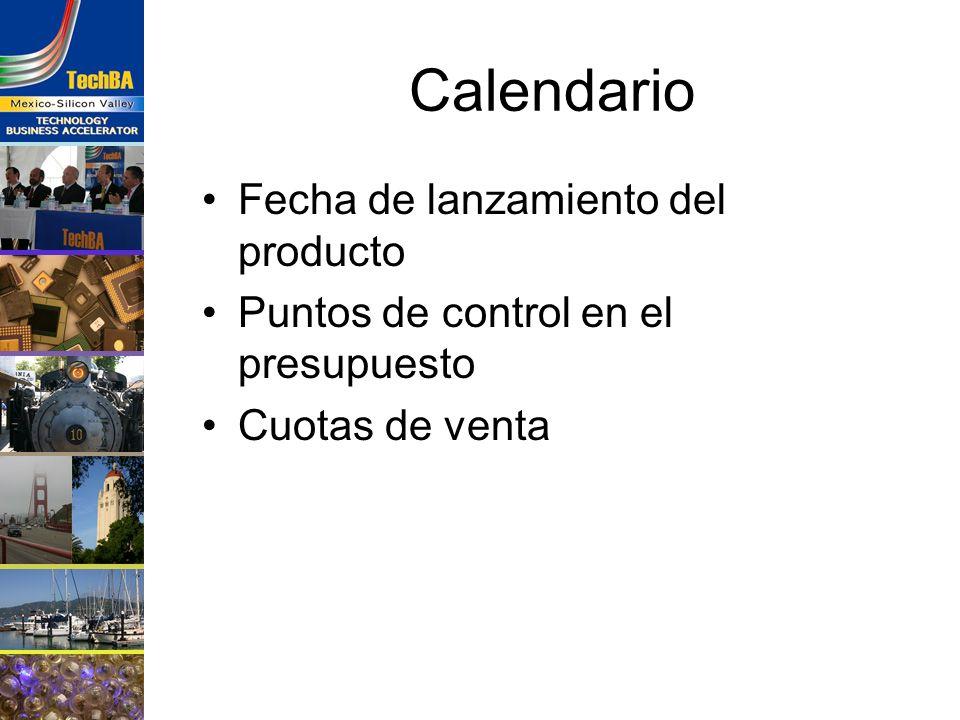 Calendario Fecha de lanzamiento del producto
