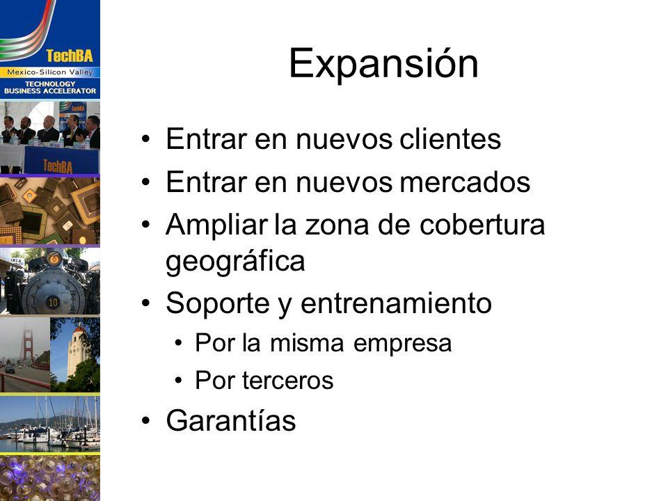 Expansión Entrar en nuevos clientes Entrar en nuevos mercados