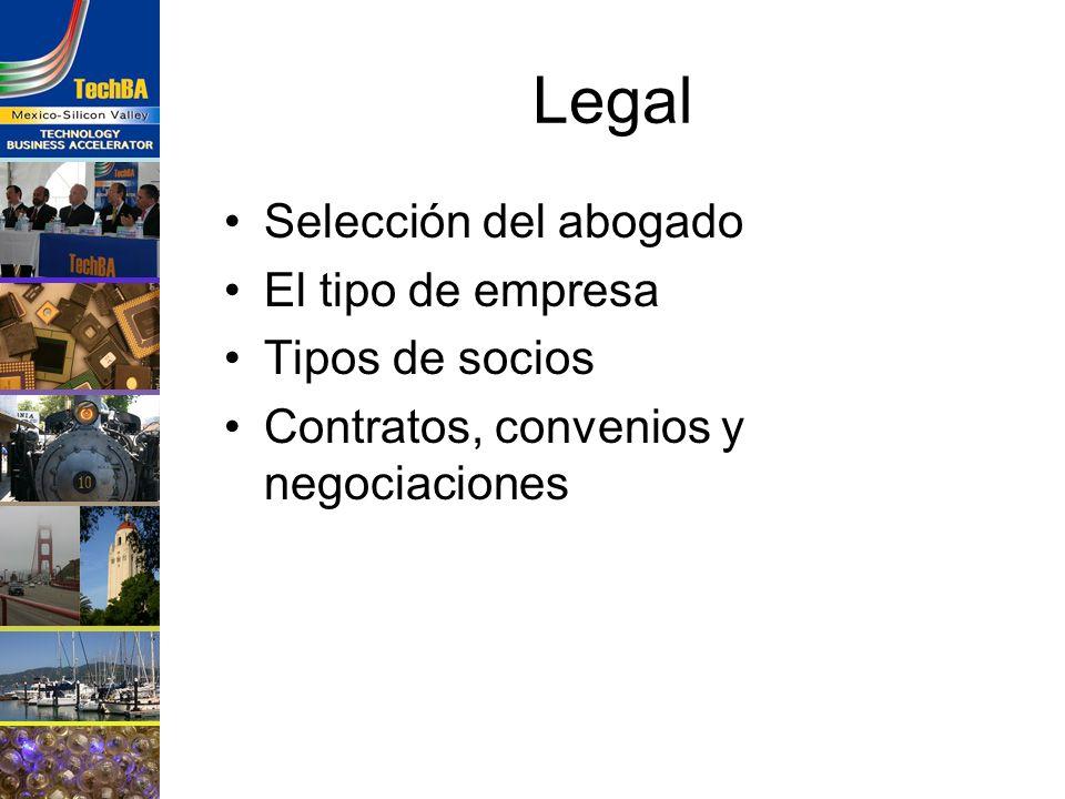 Legal Selección del abogado El tipo de empresa Tipos de socios