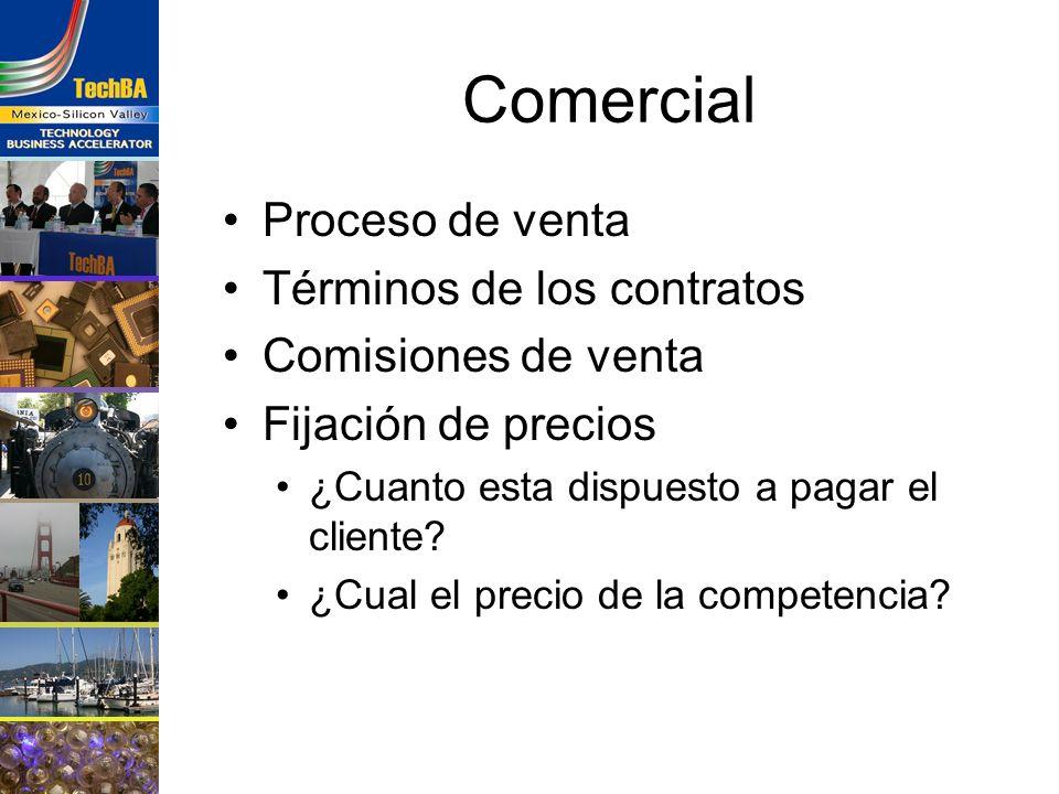 Comercial Proceso de venta Términos de los contratos