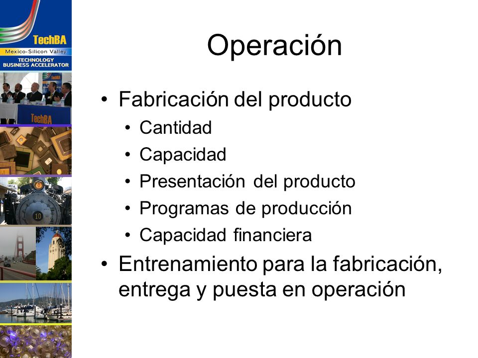 Operación Fabricación del producto