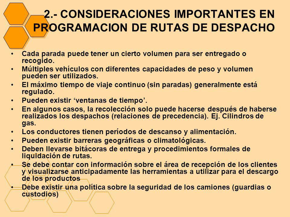 2.- CONSIDERACIONES IMPORTANTES EN PROGRAMACION DE RUTAS DE DESPACHO