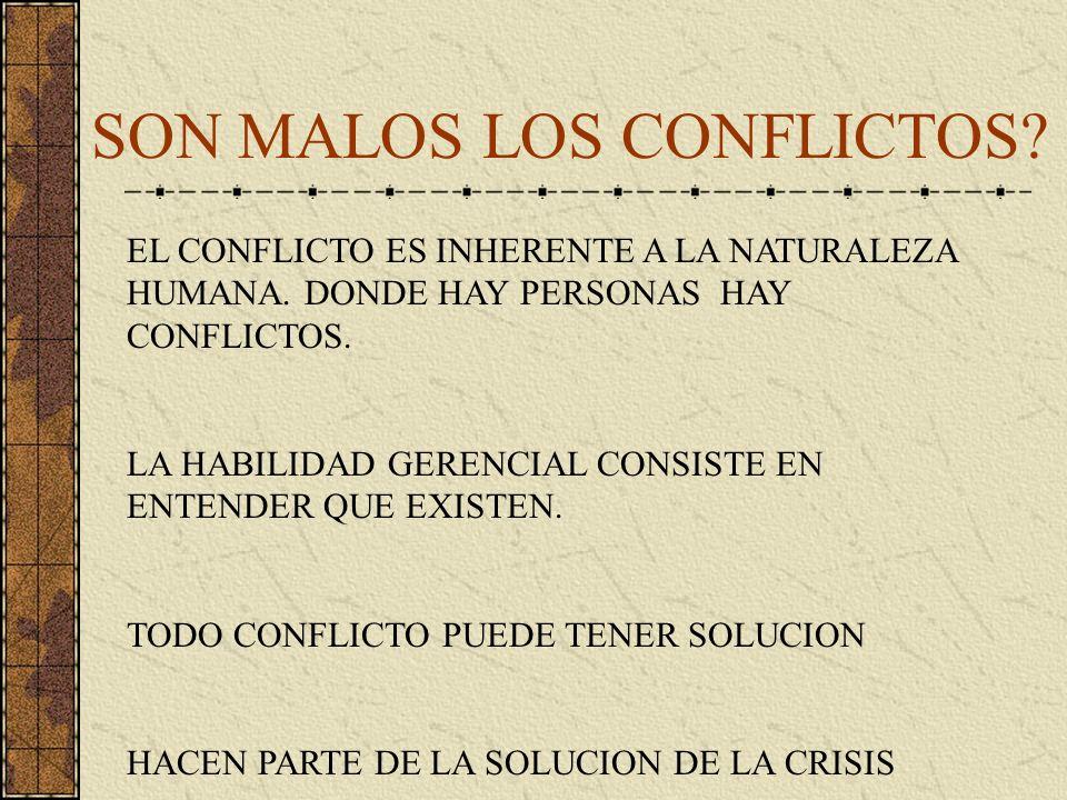SON MALOS LOS CONFLICTOS