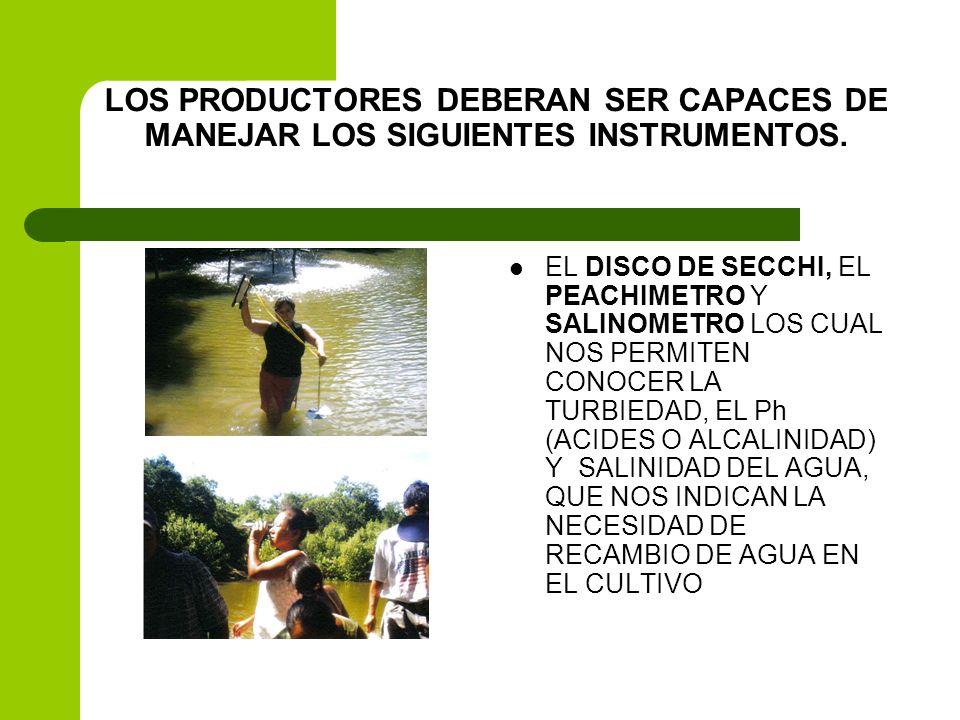 LOS PRODUCTORES DEBERAN SER CAPACES DE MANEJAR LOS SIGUIENTES INSTRUMENTOS.