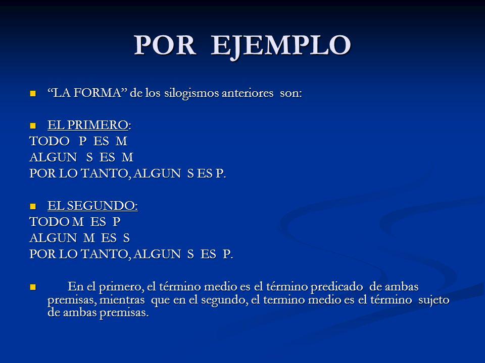 POR EJEMPLO LA FORMA de los silogismos anteriores son: EL PRIMERO: