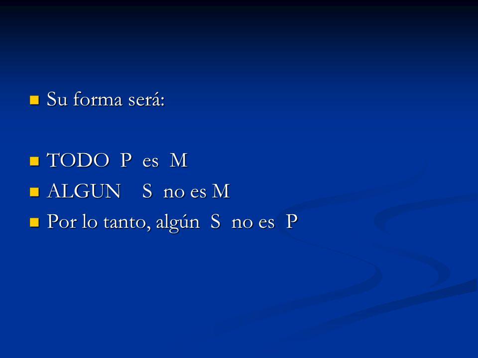Su forma será: TODO P es M ALGUN S no es M Por lo tanto, algún S no es P