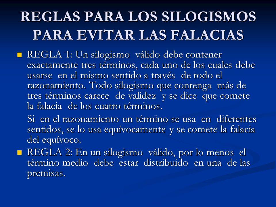 REGLAS PARA LOS SILOGISMOS PARA EVITAR LAS FALACIAS