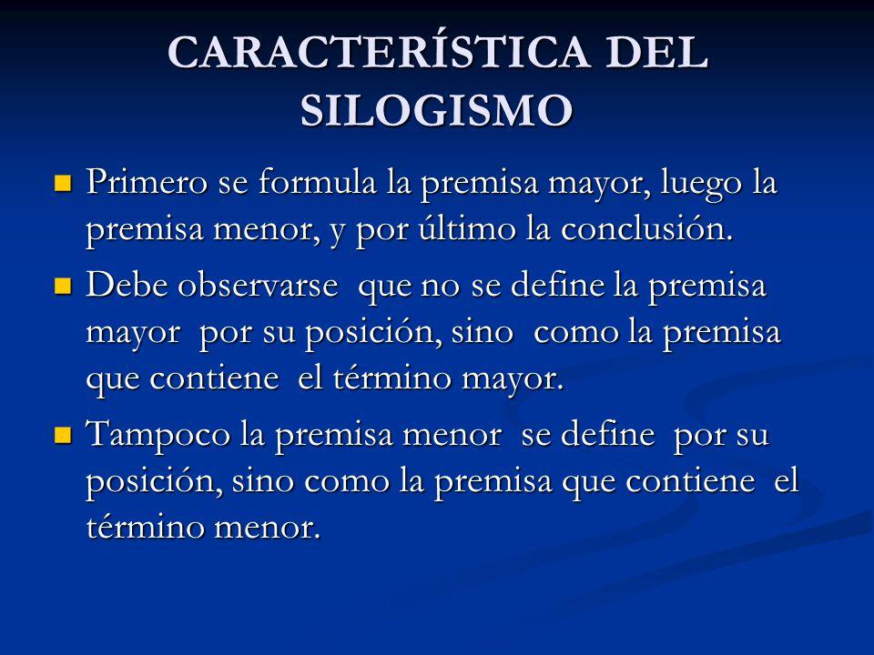 CARACTERÍSTICA DEL SILOGISMO