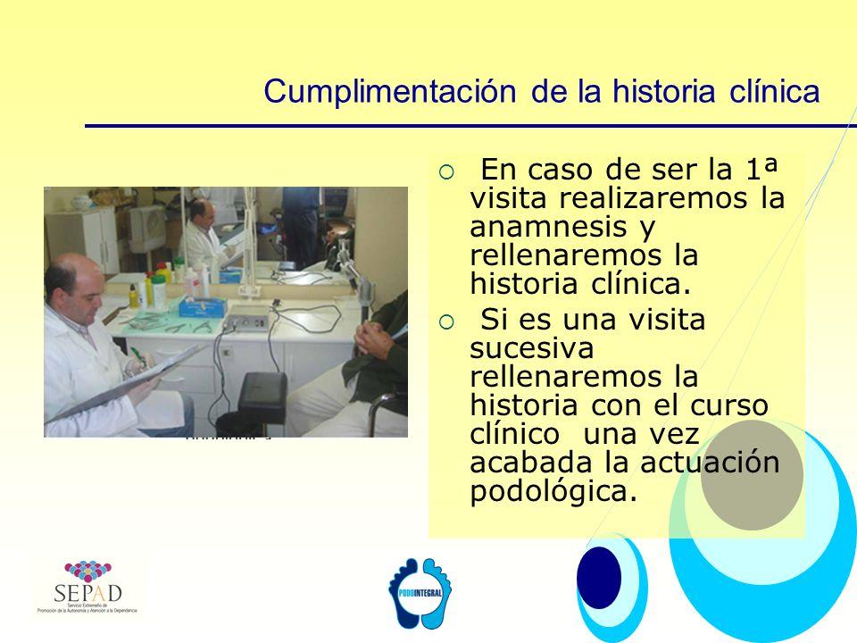 Cumplimentación de la historia clínica