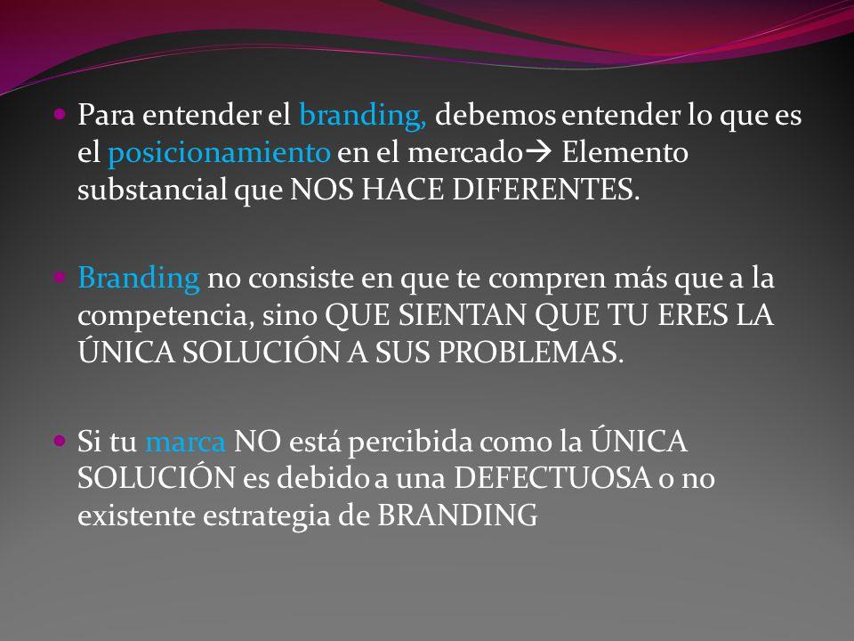 Para entender el branding, debemos entender lo que es el posicionamiento en el mercado Elemento substancial que NOS HACE DIFERENTES.