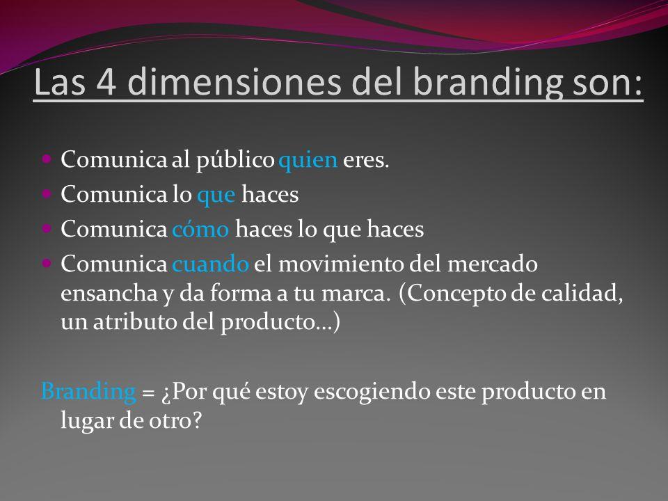 Las 4 dimensiones del branding son: