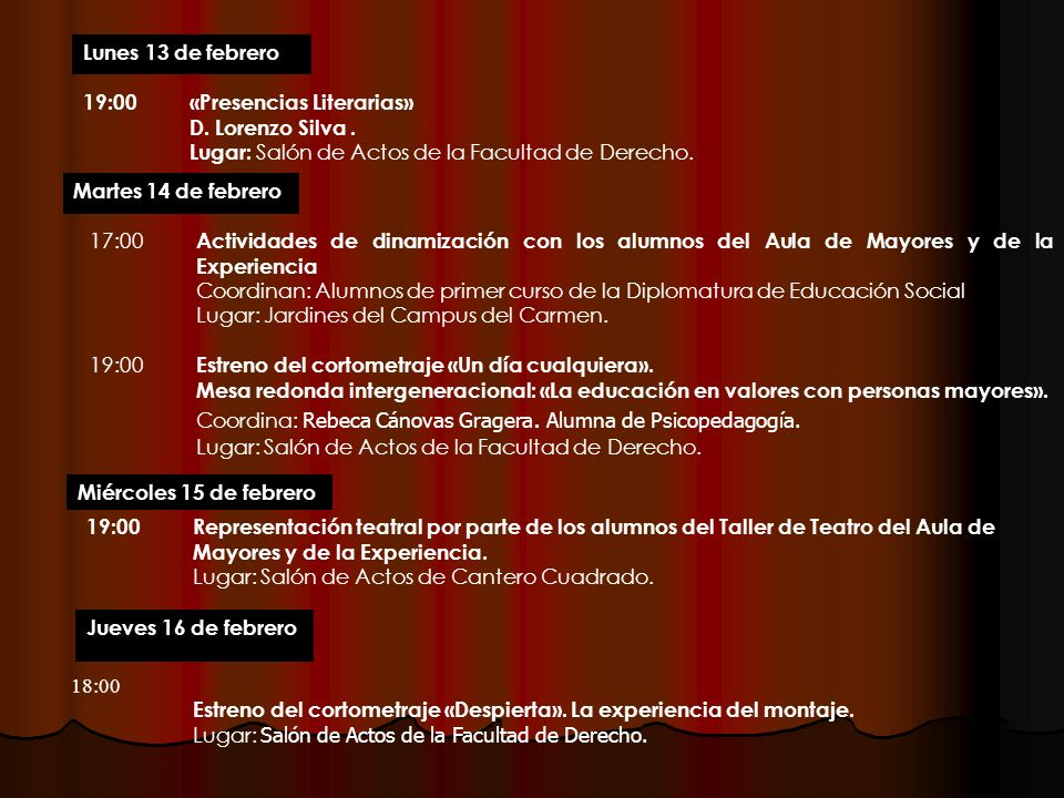 19:00 «Presencias Literarias»