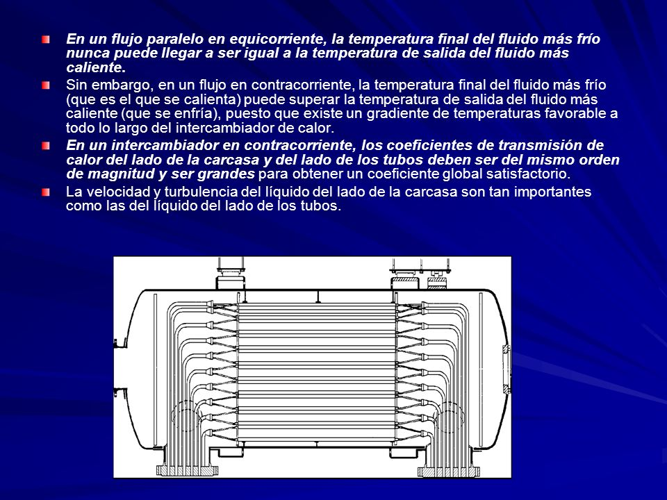 En un flujo paralelo en equicorriente, la temperatura final del fluido más frío nunca puede llegar a ser igual a la temperatura de salida del fluido más caliente.
