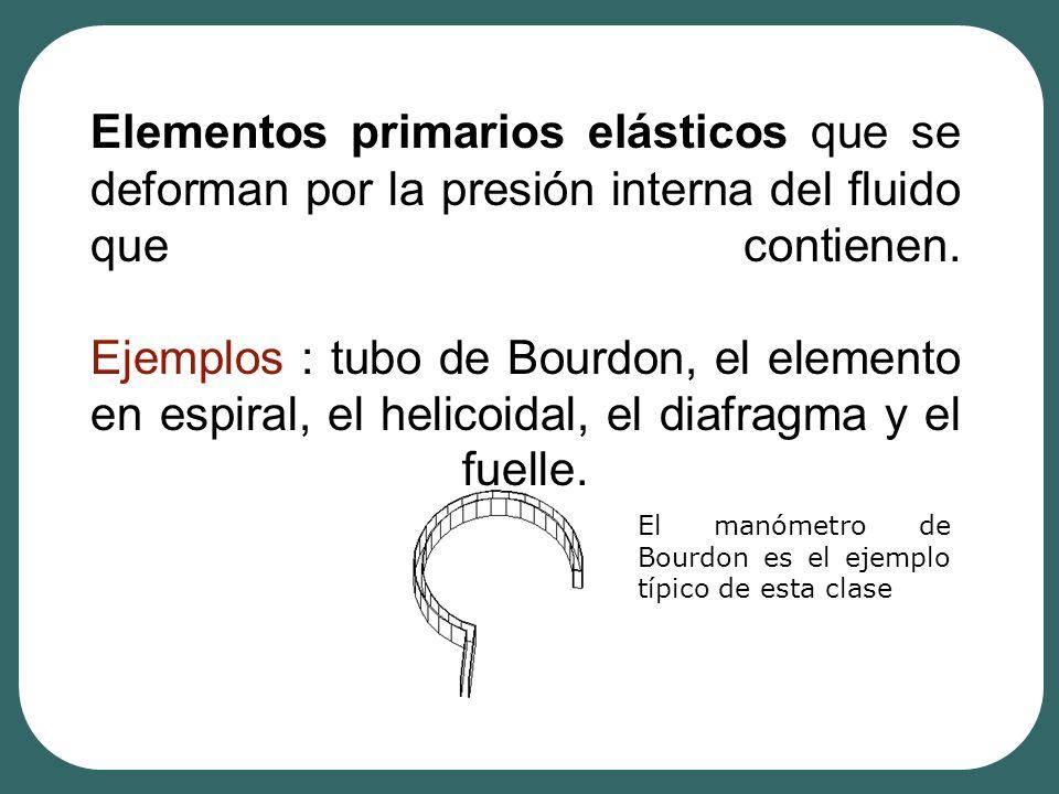Elementos primarios elásticos que se deforman por la presión interna del fluido que contienen. Ejemplos : tubo de Bourdon, el elemento en espiral, el helicoidal, el diafragma y el fuelle.