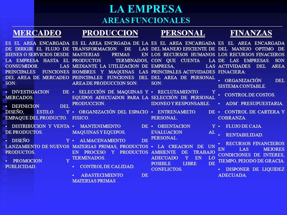 LA EMPRESA AREAS FUNCIONALES