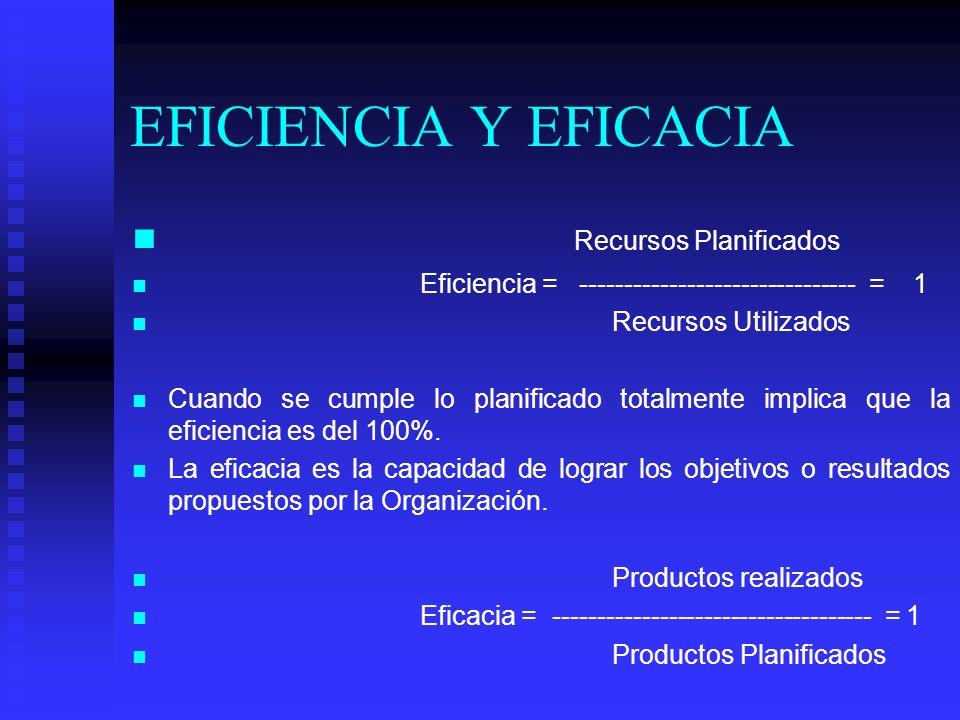 EFICIENCIA Y EFICACIA Recursos Planificados