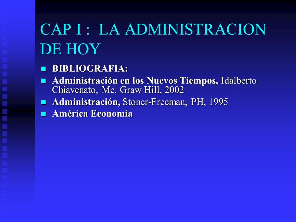 CAP I : LA ADMINISTRACION DE HOY