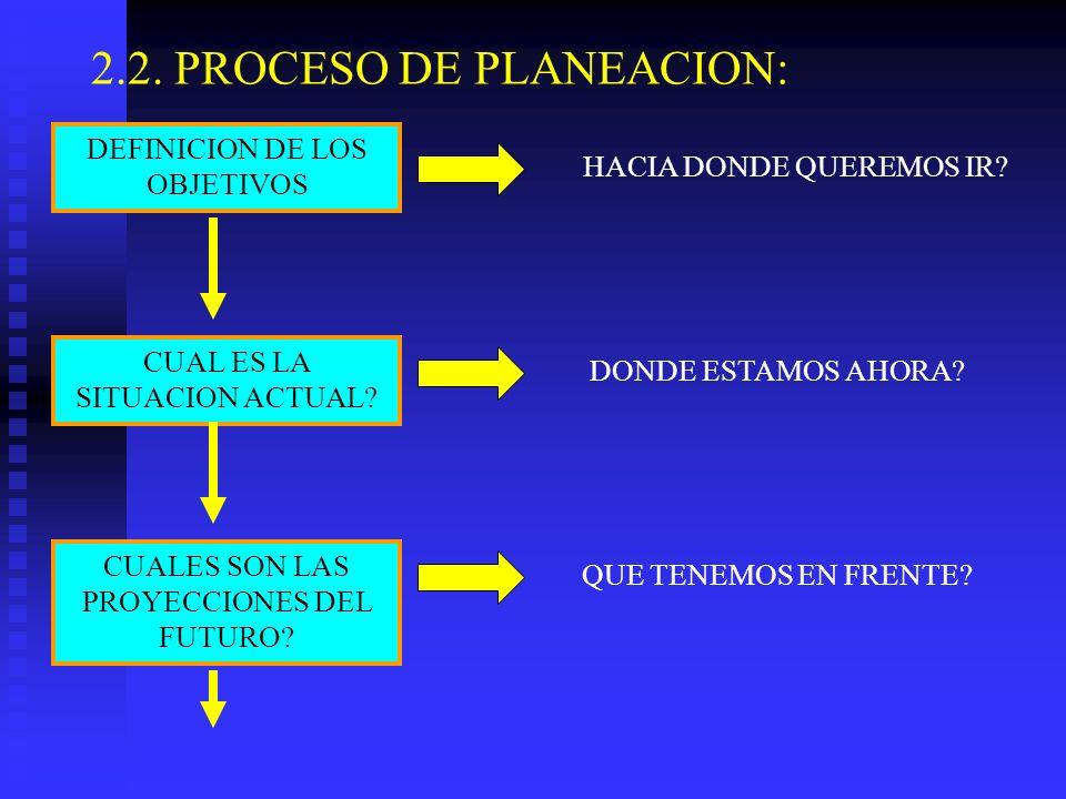 2.2. PROCESO DE PLANEACION: