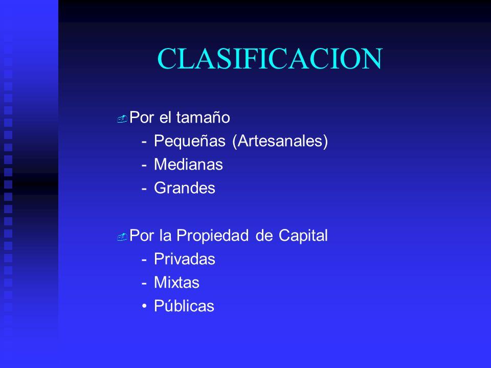 CLASIFICACION Por el tamaño Pequeñas (Artesanales) Medianas Grandes