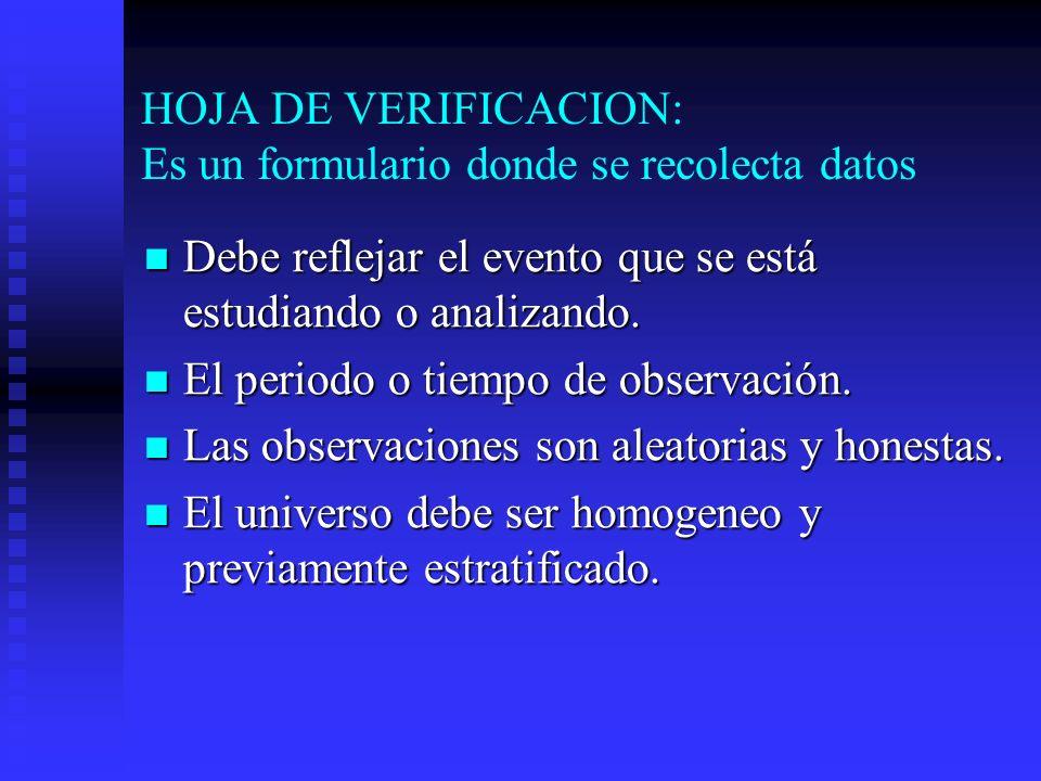 HOJA DE VERIFICACION: Es un formulario donde se recolecta datos