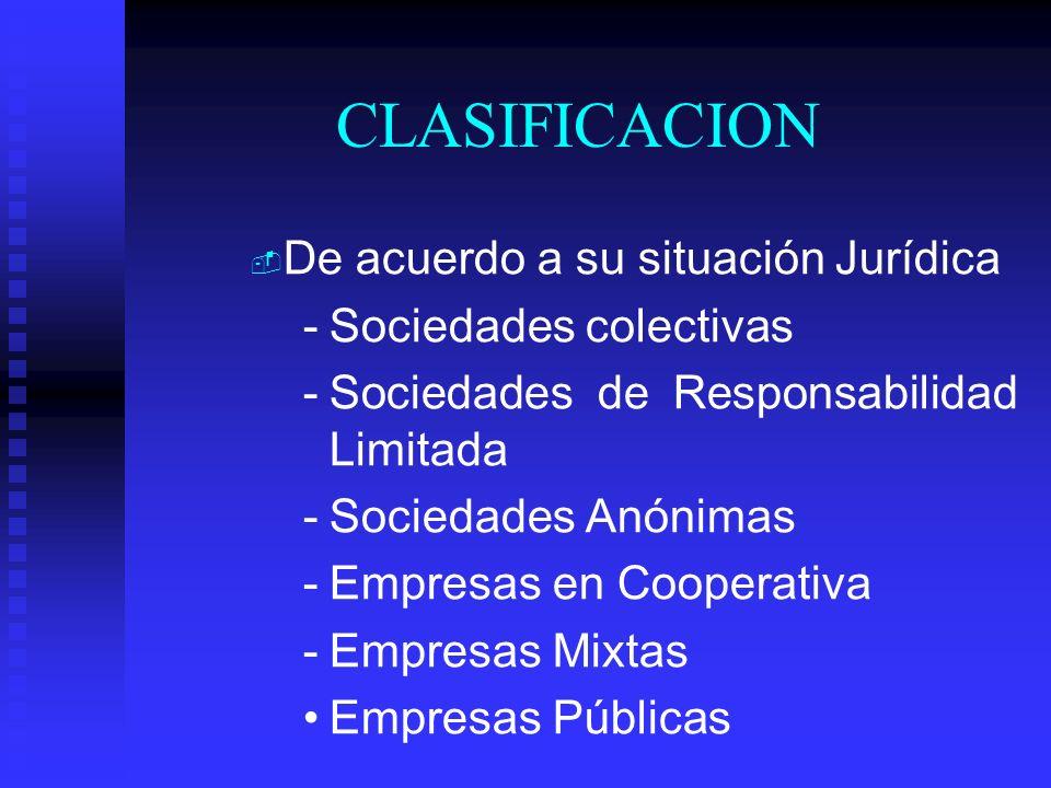 CLASIFICACION De acuerdo a su situación Jurídica Sociedades colectivas