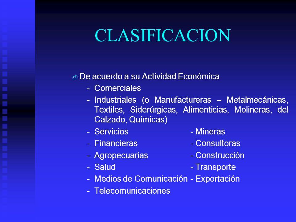 CLASIFICACION De acuerdo a su Actividad Económica Comerciales