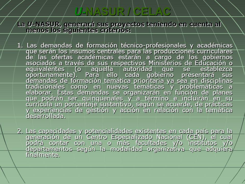 U-NASUR / CELAC La U-NASUR, generará sus proyectos teniendo en cuenta al menos los siguientes criterios: