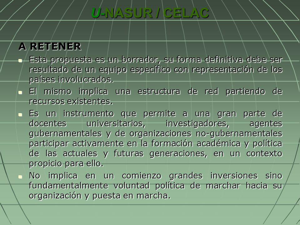 U-NASUR / CELAC A RETENER