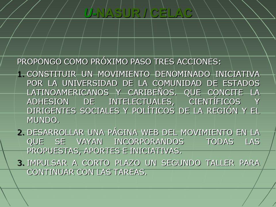U-NASUR / CELAC PROPONGO COMO PRÓXIMO PASO TRES ACCIONES: