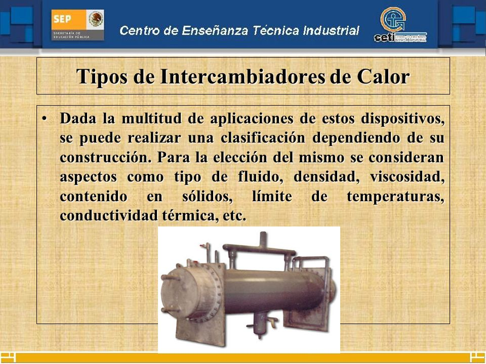 Tipos de Intercambiadores de Calor