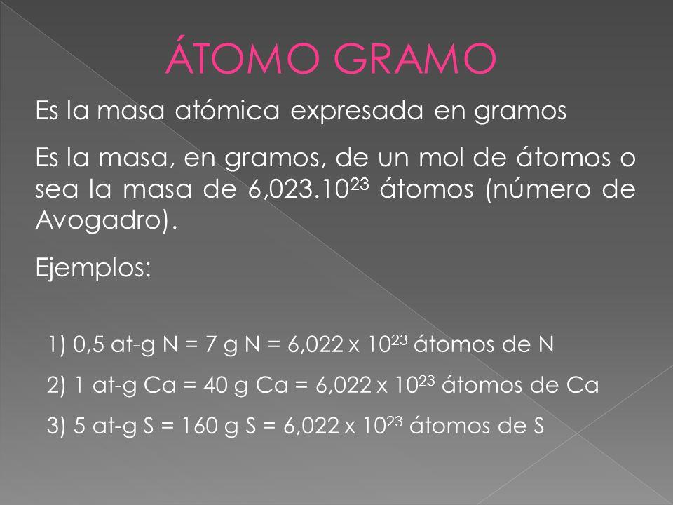 ÁTOMO GRAMO Es la masa atómica expresada en gramos