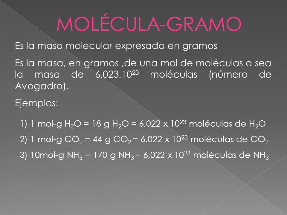 MOLÉCULA-GRAMO Es la masa molecular expresada en gramos