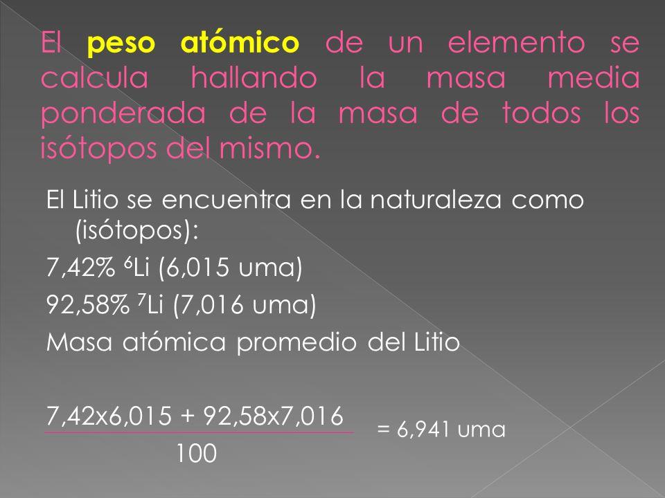 El peso atómico de un elemento se calcula hallando la masa media ponderada de la masa de todos los isótopos del mismo.