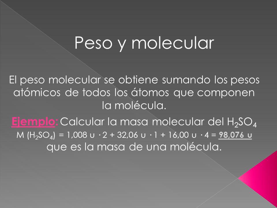 Ejemplo: Calcular la masa molecular del H2SO4