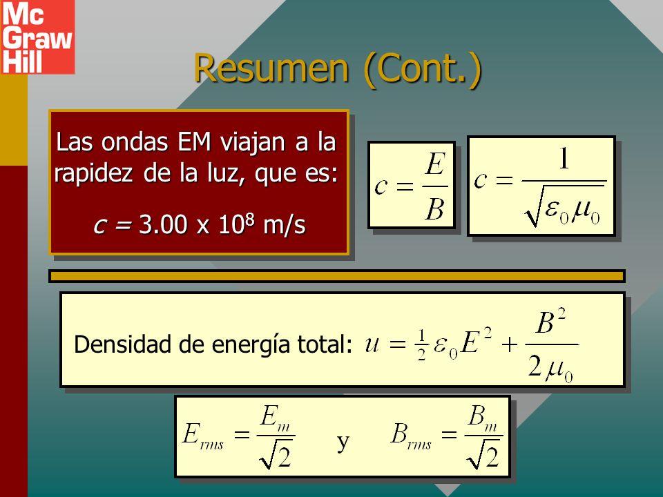 Resumen (Cont.) Las ondas EM viajan a la rapidez de la luz, que es: