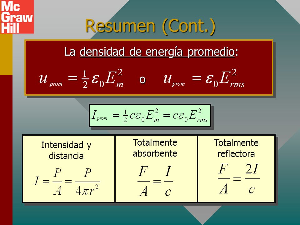 Resumen (Cont.) La densidad de energía promedio: o