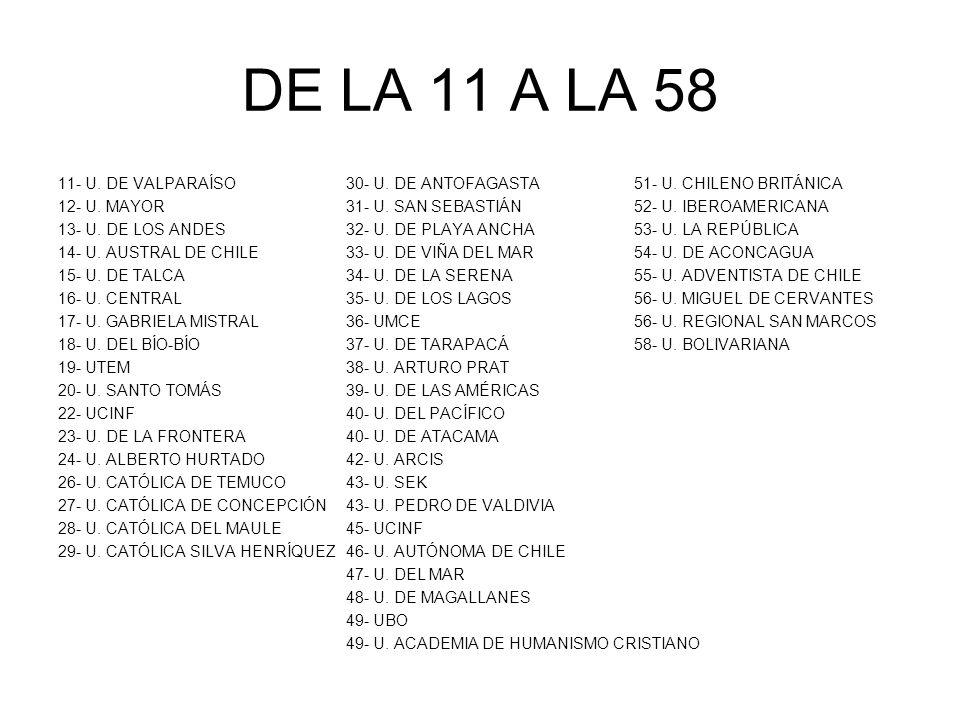 DE LA 11 A LA 58 11- U. DE VALPARAÍSO 30- U. DE ANTOFAGASTA 51- U. CHILENO BRITÁNICA. 12- U. MAYOR 31- U. SAN SEBASTIÁN 52- U. IBEROAMERICANA.
