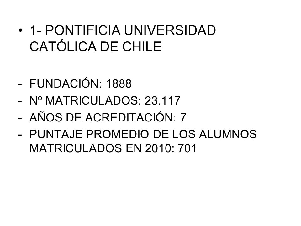1- PONTIFICIA UNIVERSIDAD CATÓLICA DE CHILE
