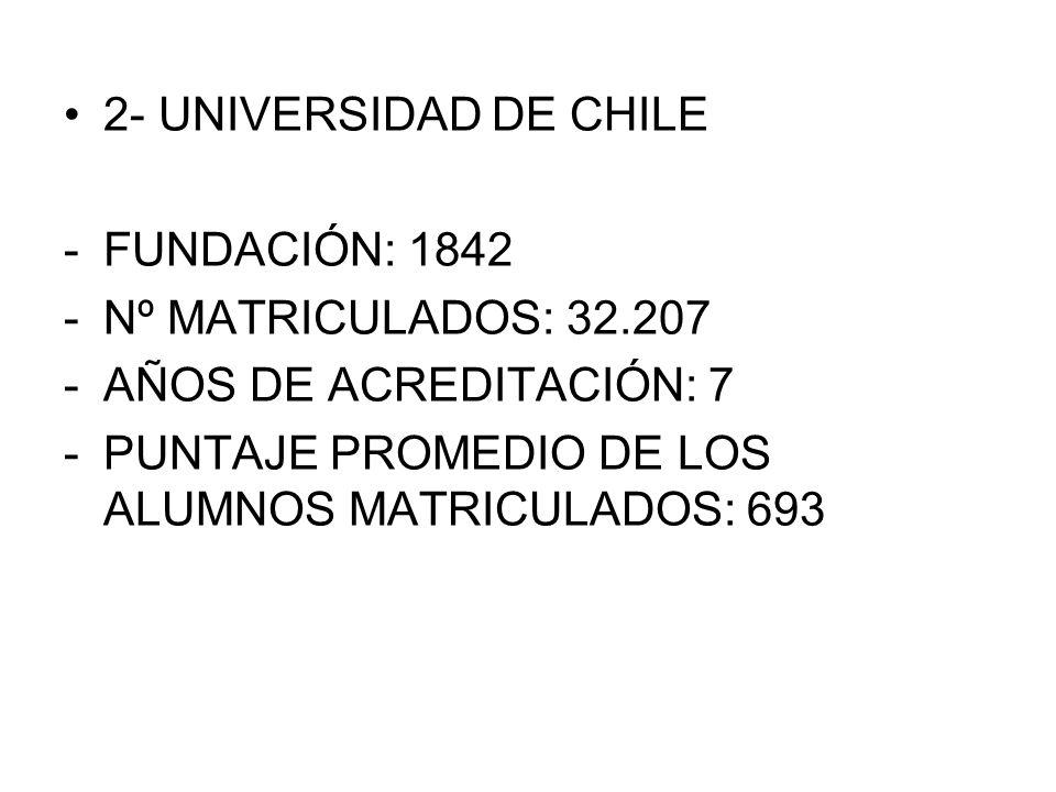 2- UNIVERSIDAD DE CHILE FUNDACIÓN: 1842. Nº MATRICULADOS: 32.207.