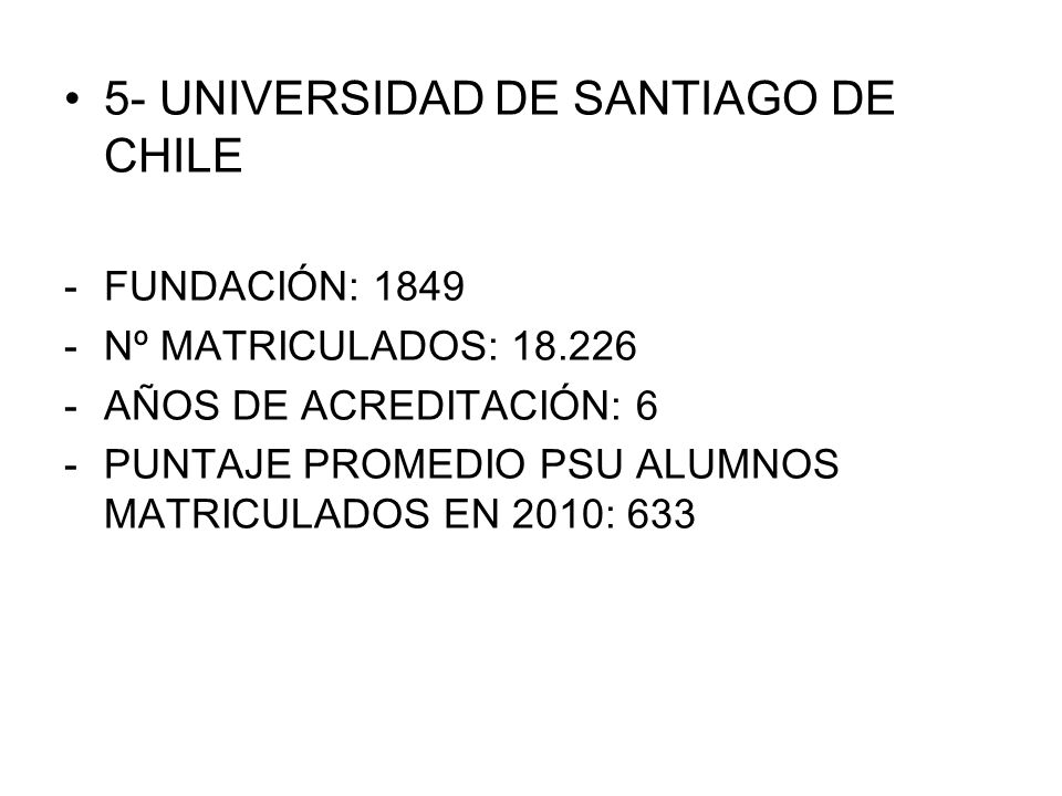 5- UNIVERSIDAD DE SANTIAGO DE CHILE