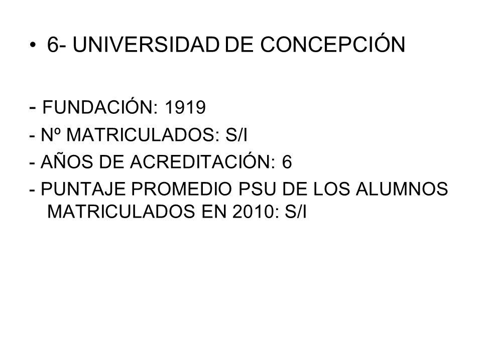 6- UNIVERSIDAD DE CONCEPCIÓN - FUNDACIÓN: 1919