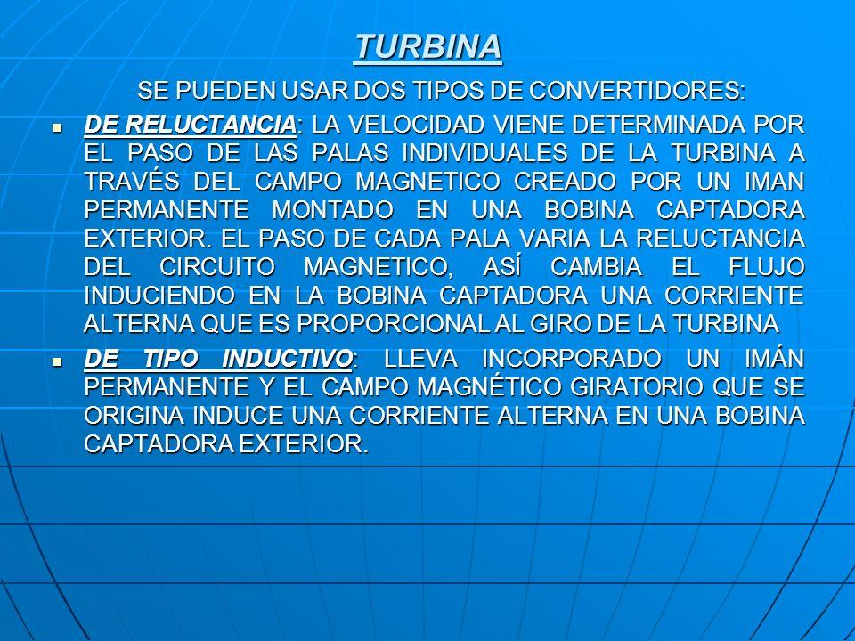 TURBINA SE PUEDEN USAR DOS TIPOS DE CONVERTIDORES: