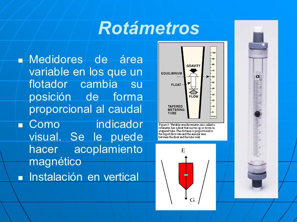 Rotámetros Medidores de área variable en los que un flotador cambia su posición de forma proporcional al caudal.