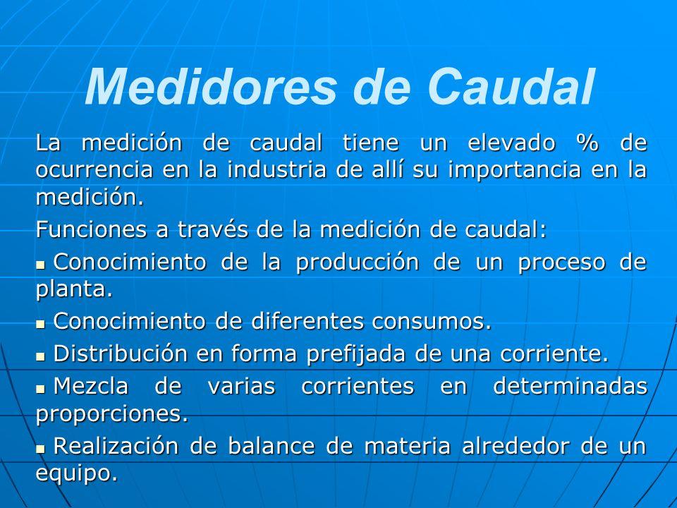 Medidores de Caudal La medición de caudal tiene un elevado % de ocurrencia en la industria de allí su importancia en la medición.