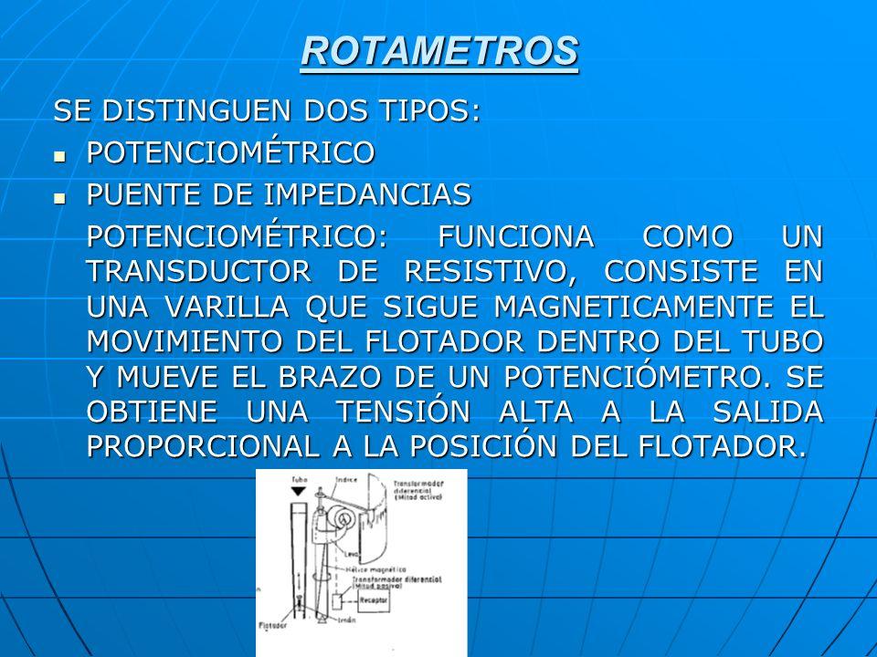 ROTAMETROS SE DISTINGUEN DOS TIPOS: POTENCIOMÉTRICO