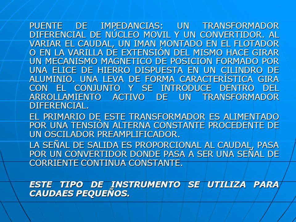 PUENTE DE IMPEDANCIAS: UN TRANSFORMADOR DIFERENCIAL DE NÚCLEO MOVIL Y UN CONVERTIDOR. AL VARIAR EL CAUDAL, UN IMAN MONTADO EN EL FLOTADOR O EN LA VARILLA DE EXTENSIÓN DEL MISMO HACE GIRAR UN MECANISMO MAGNETICO DE POSICION FORMADO POR UNA ELICE DE HIERRO DISPUESTA EN UN CILINDRO DE ALUMINIO. UNA LEVA DE FORMA CARACTERÍSTICA GIRA CON EL CONJUNTO Y SE INTRODUCE DENTRO DEL ARROLLAMIENTO ACTIVO DE UN TRANSFORMADOR DIFERENCIAL.