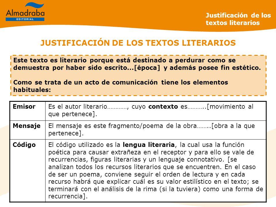 JUSTIFICACIÓN DE LOS TEXTOS LITERARIOS