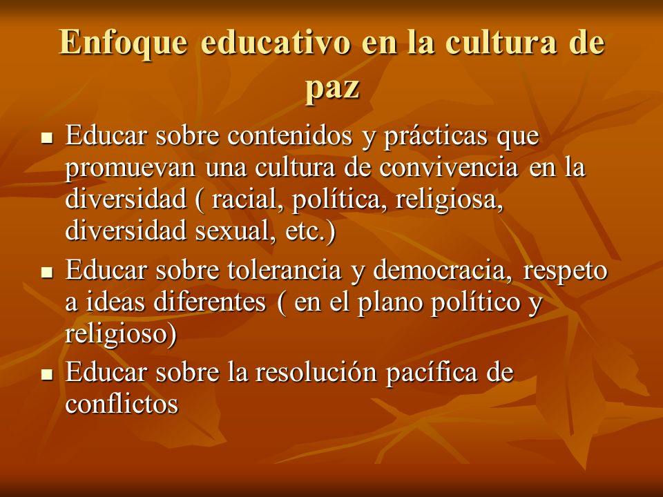 Enfoque educativo en la cultura de paz