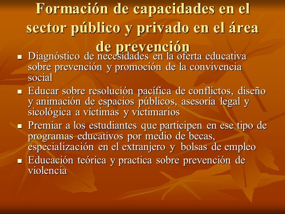Formación de capacidades en el sector público y privado en el área de prevención