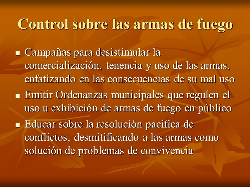 Control sobre las armas de fuego